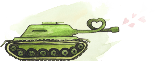 Illustration of a tank shooting hearts